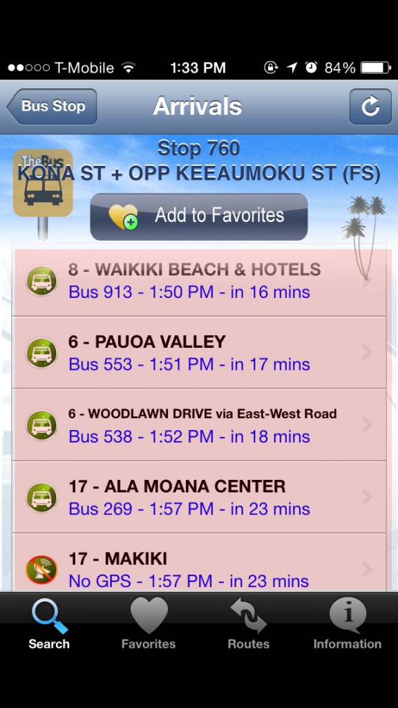 하와이 여행 자유 버스 어플 앱 8
