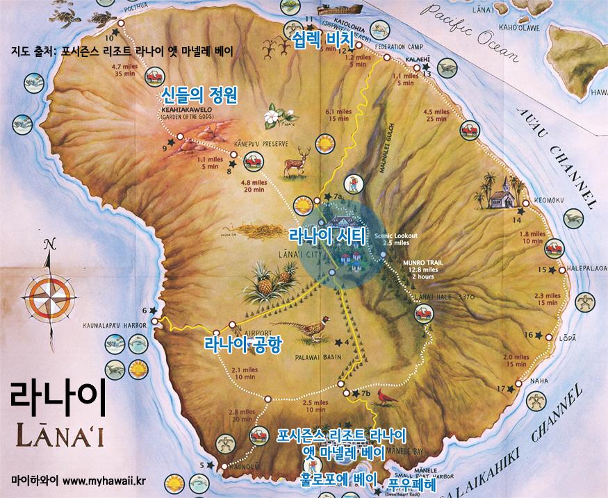 하와이 라나이 지도