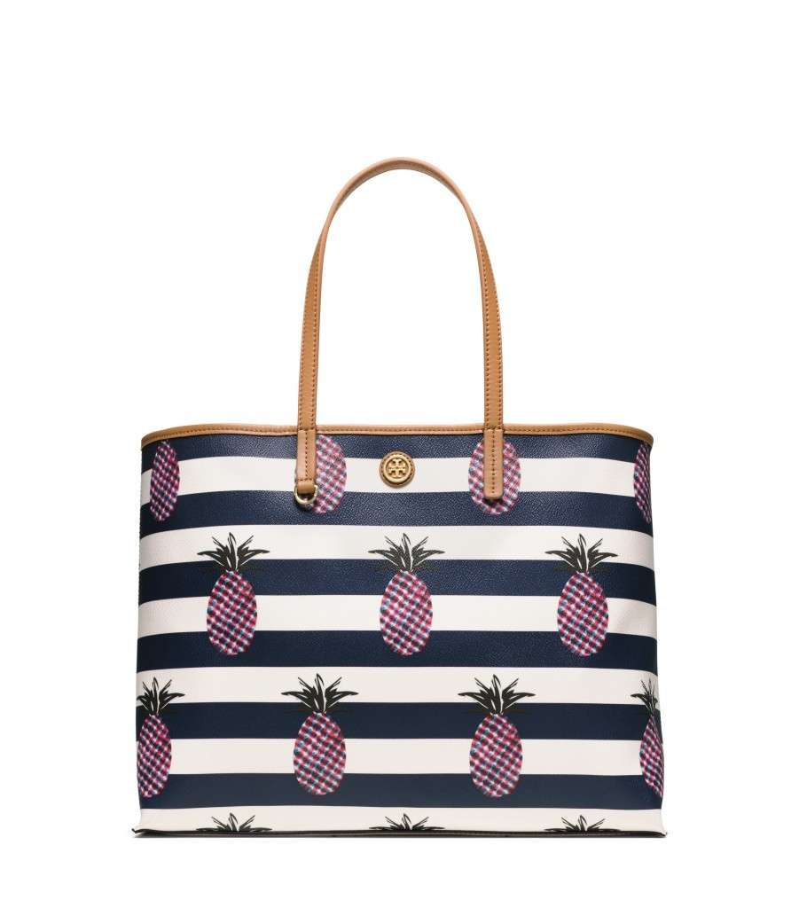 TB Kerrington Square Tote in Pineapple Stripe Large