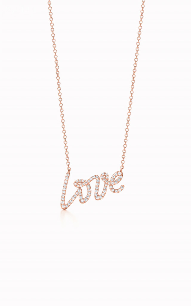 Paloma Picasso Love pendant in 18k rose gold with diamonds.