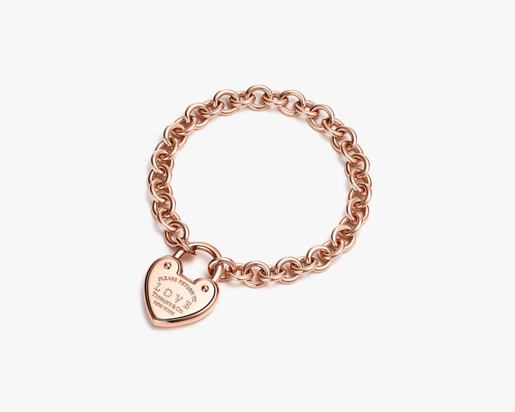 Return to Tiffany Love lock bracelet in 18k rose gold.