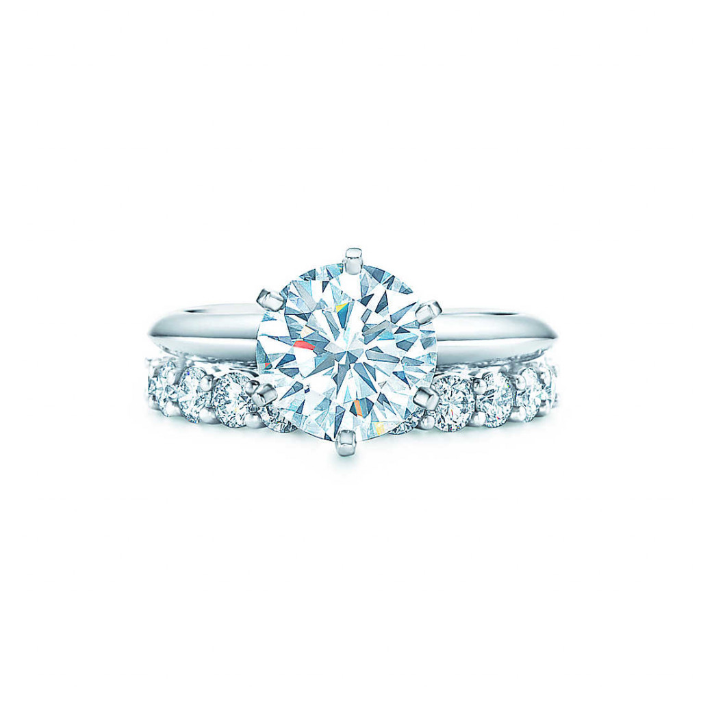 Tiffany Setting engagement ring and shared-setting band ring with diamonds in platinum.
